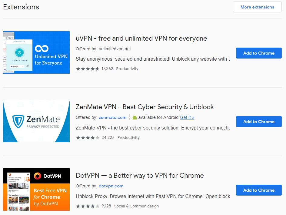 Top 5 VPN Extension