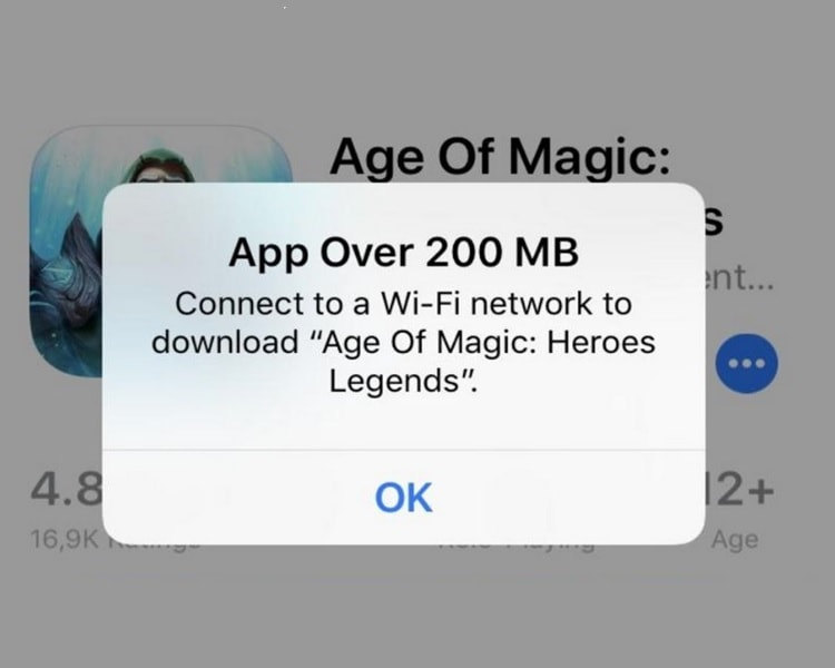 App Download Limit To 200 MB Over Cellular Data